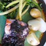 BAKED SALMON IN A BLUEBERRY HERB SAUCE
