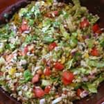 A FESTIVE SPROUTED THREE BEAN VEGETABLE RICE SALAD/GLUTEN FREE/VEGETARIAN