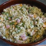 GARLIC SCAPE HAM AND PESTO PASTA SALAD